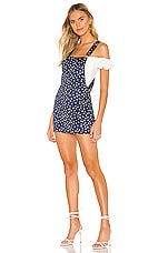 superdown Athena Overall Dress in Blue Star Print