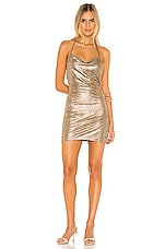 superdown Eden Cowl Slit Dress in Gold Metallic