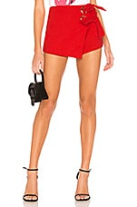 superdown Alaya Grommet Wrap Skort in Red