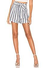 superdown Michelle Tie Waist Shorts in Blue & White