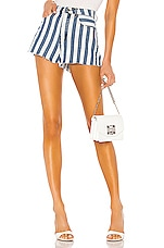 superdown Sydney Striped Denim Shorts in Blue & White