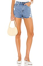 superdown Angelica Distressed Denim Shorts in Medium Wash