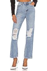 superdown x Draya Michele Agatha Straight Leg Jeans in Light Wash Blue