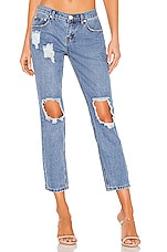 superdown Angie Girlfriend Jeans in Vintage Blue Wash