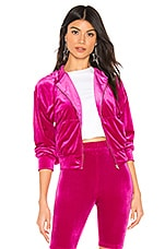 superdown Aja Velour Jacket in Hot Pink