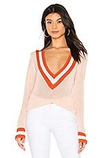 superdown Bobbie V Neck Sweater in Light Pink Multi