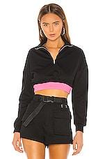 superdown Jojo Contrast Cropped Sweatshirt in Black