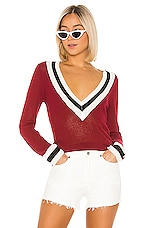 superdown Bobbie V Neck Sweater in Oxblood Multi