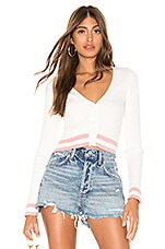 superdown Nichole Cropped Sweater in White & Pink