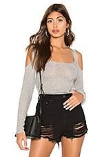 superdown Freida Open Shoulder Sweater in Grey