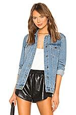 superdown Alyssa Crystal Denim Jacket in Medium Denim Wash