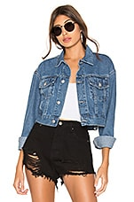 superdown Tyler Cropped Denim Jacket in Mid Wash Blue
