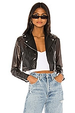 superdown Sloane Cropped Moto Jacket in Black Smoke