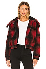 superdown Candy Zip Front Jacket in Red Plaid
