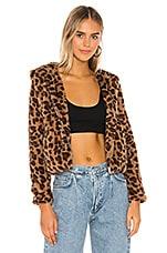 superdown Natalia Faux Fur Hoodie in Leopard