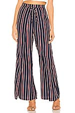 superdown Morgan Tie Front Pants in Navy Stripes
