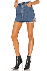 superdown Melissa Slit Mini Skirt in Medium Denim Wash