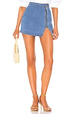 superdown Cara Denim Skirt in Medium Blue Wash