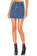 superdown Marianna Side Stripe Skirt in Mid Blue Wash