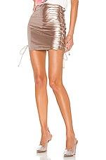 superdown Arabella Lace Up Skirt in Metallic Pewter