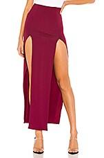 superdown Lauren Zip Front Skirt in Sangria