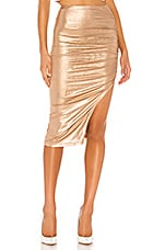 superdown Tiffani Ruched Midi Skirt in Rose Gold