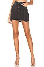 superdown Heather Step Hem Denim Skirt in Vintage Black