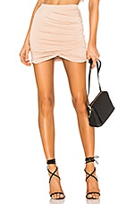 superdown Arden Ruched Mini Skirt in Nude