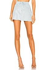 superdown Kandi Iridescent Rhinestone Skirt in Light Wash Denim