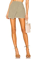 superdown Callie Frayed Wrap Skirt in Olive
