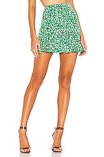 superdown Kelly Ruffle Mini Skirt in Green Leopard