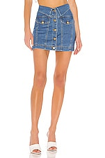 superdown Shannon Denim Mini Skirt in Mid Blue Wash