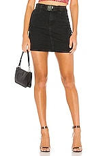 superdown Leighton Belted Denim Skirt in Black