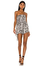 superdown Jolie Strapless Romper in Grey Snake