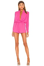 superdown Kaycie Drape Neck Romper in Hot Pink