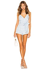 superdown Cynthia Tie Front Romper in Light Blue Plaid