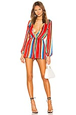 superdown Rio Surplice Romper in Rainbow Stripe