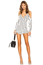 superdown Zoey Tie Sleeve Romper in White Stripe