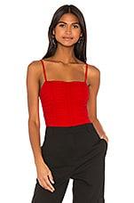 superdown Lauryn Ruched Bodysuit in Red