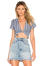 superdown Dulce Twist Front Top in Blue Stripe