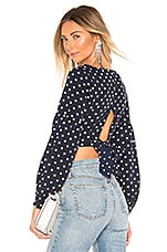 superdown Yasmin Tie Back Crop Top in Navy Polka Dot