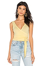 superdown Mina Rib Wrap Top in Yellow