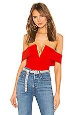superdown Aaliyah Deep V Bodysuit in Cherry Red