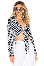 superdown Lynna Front Knot Top in Navy Plaid