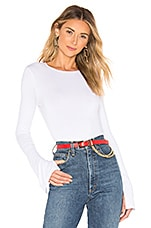 superdown Lauren Split Sleeve Jersey Top in White