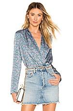 superdown Heidi Drape Wrap Bodysuit in Blue Floral