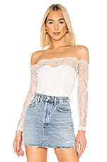superdown Rivka Off Shoulder Bodysuit in Ivory