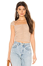 superdown Jeane Ruched Top in Toast