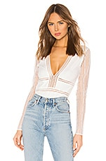 superdown Britni Deep V Bodysuit in White Lace