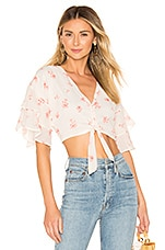 superdown Audrena Ruffle Top in White Floral